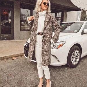 Zara Leopard Coat - Size Large